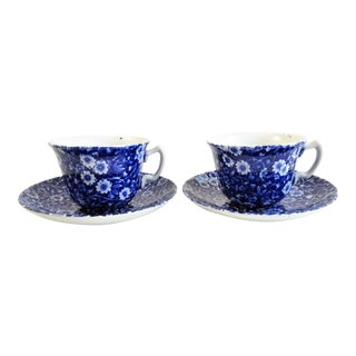 Vintage Staffordshire Calico Cups & Saucers, Made in England - a Pair