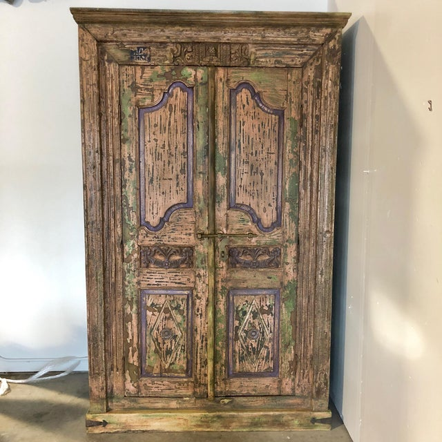 Antique Rustic Large Wood Armoire - Image 6 of 6