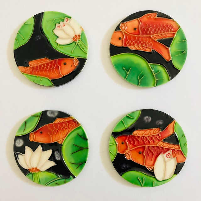 Contemporary Chinoiserie Style Glazed Ceramic Koi Fish Magnets - Boxed Set of 4 For Sale - Image 4 of 4
