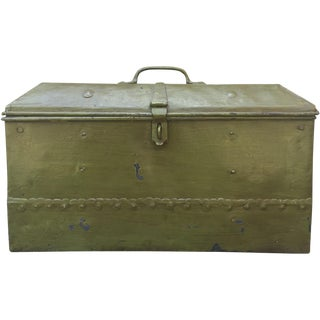 Heavy Green Industrial Metal Trunk For Sale