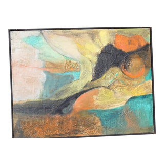 Mid-Century Modern Colorful Abstract Oil Painting For Sale