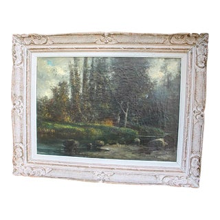 19th C French Landscape Oil Painting on Canvas For Sale
