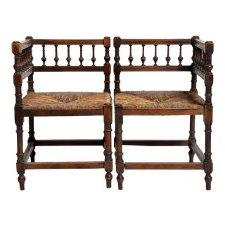 French Wooden Corner Chairs - a Pair For Sale