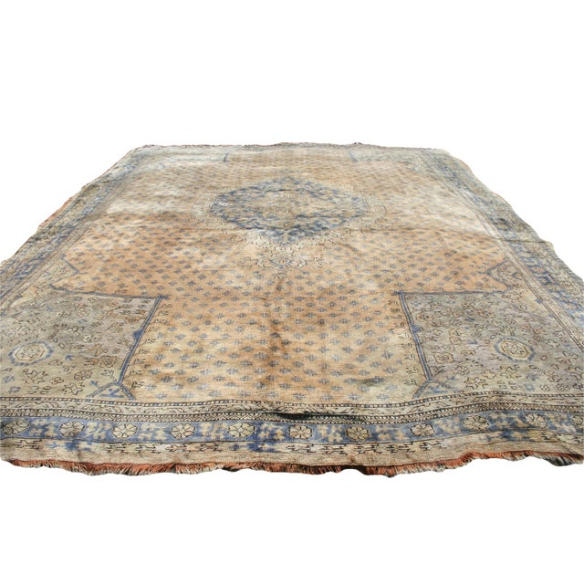Early 20th Century Antique Oushak Waterloo Design Rug - 11′9″ × 15′5″ For Sale - Image 4 of 13