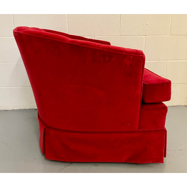 Mid-Century Modern 1960s Vintage Red Velvet Button Tucked Arm Chair For Sale - Image 3 of 9