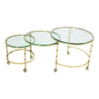 Solid Brass Faux Bamboo Expansion Nesting Tables For Sale