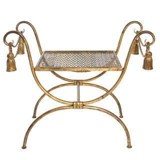 1960s Hollywood Regency Gilded Bench For Sale