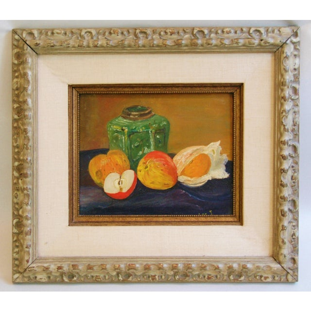 1960s Fruit Tablescape Still Life Oil Painting For Sale - Image 5 of 6