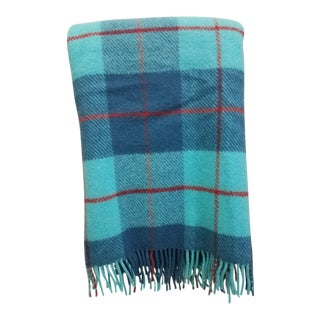 Wool Throw Blue, Aqua and Red in Different Sized Stripes - Made in England For Sale