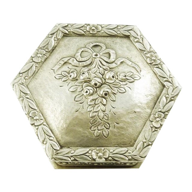 French Sterling Silver Box, Ribbons and Floral Motifs For Sale