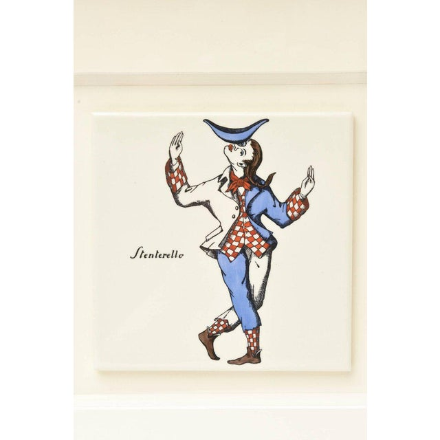 Pair of Rare Vintage Fornasetti Ceramic Jester Ceramic Plaques Custom Framed For Sale In Miami - Image 6 of 13