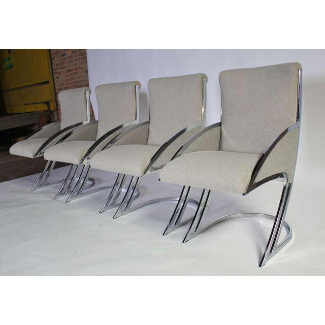 Set of Four Chrome Dining Chairs For Sale - Image 4 of 9