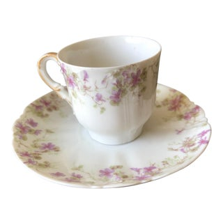 Antique Limoges Porcelain China Demitasse Cup and Saucer For Sale