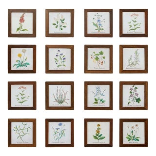 Set of Sixteen Italian Hand Painted Ceramic Botanical Tiles For Sale