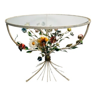 20th Century Italian Tole Floral Bouquet Accent Table For Sale