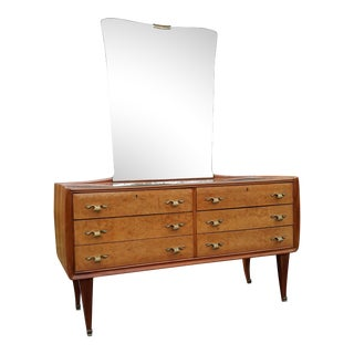 Italian Burlwood Chest of Drawers With Brass and Reverse Painted Glass Mirror For Sale