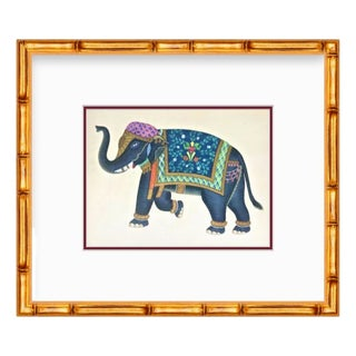 Custom Framed Gold Bamboo Decorated Elephant Indian Festival Print For Sale