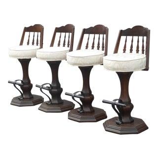 Vintage Spanish Style White Swivel Bar Stools - Set of 4