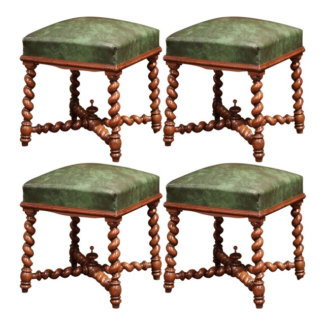 Set of Four 19th Century French Louis XIII Carved Barley Twist Leather Stools For Sale