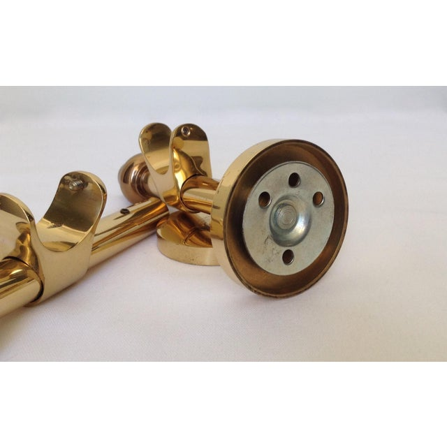 German Polished Brass Drapery Hardware Brackets - A Pair For Sale - Image 9 of 10