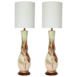 1950s Italian Drip Glaze Twist Ceramic Lamps - a Pair For Sale