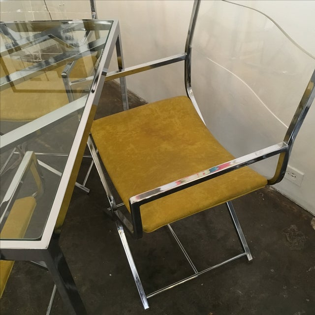 Chrome and Glass Game and or Dining Table and Four Chrome and Lucite Armchairs - Image 4 of 11