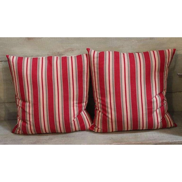 Country 19th Century Fantastic Pair of Red and Tan Ticking Pillows For Sale - Image 3 of 4