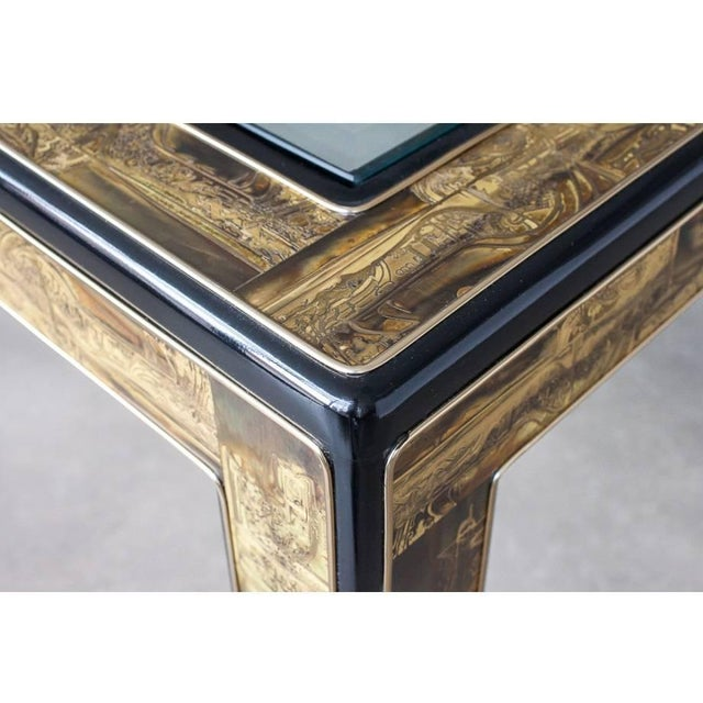 Acid-Etched Brass Coffee Table by Bernhard Rohne for Mastercraft For Sale In Dallas - Image 6 of 10