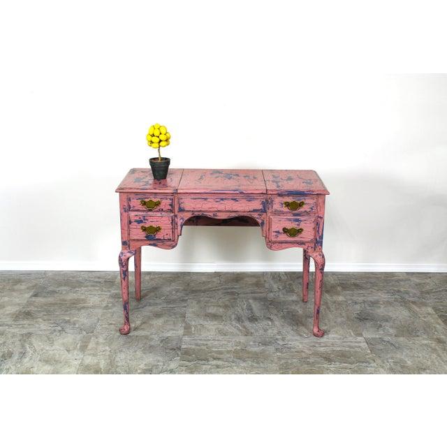 French Provincial Vanity, Provincial Dressing Table, Shabby Chic Vanity Desk, Pink Vanity, Mid Century Vanity Desk, Vintage Vanity For Sale - Image 9 of 12