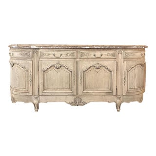Antique Country French Louis XV Stripped Oak Marble Top Buffet For Sale