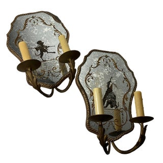 19th Century Venetian Mirrored Wall Sconce - a Pair For Sale