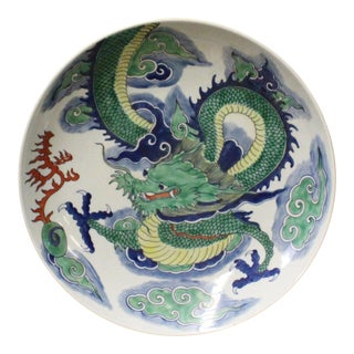 Chinese Green Dragon Painting White Porcelain Charger Plate
