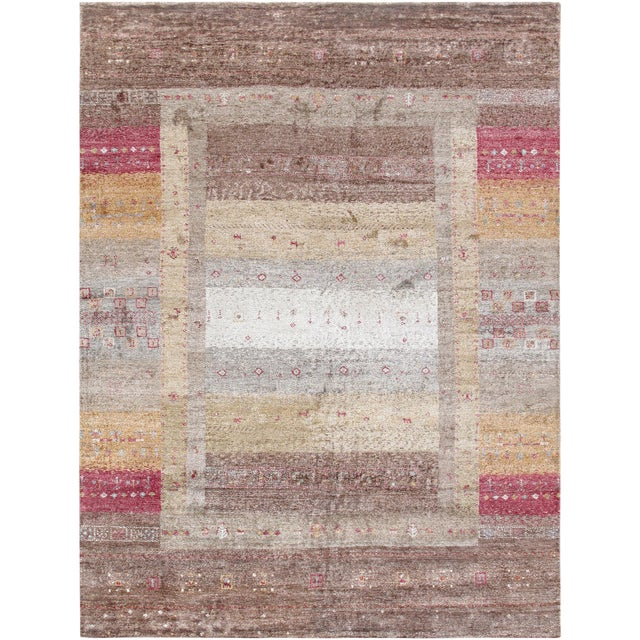 "Pasargad Gabbeh Bamboo Silk Area Rug - 4' 0"" X 5' 9"" For Sale"