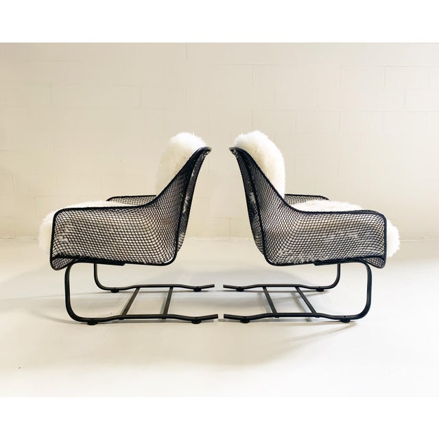 Russell Woodard Russell Woodard Sculptura Lounge Chairs and Ottoman With Sheepskin Cushions For Sale - Image 4 of 10