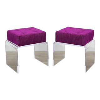 Pair of Minimalist Waterfall Acrylic Benches , Pair of Fuchsia Chenille Benches For Sale