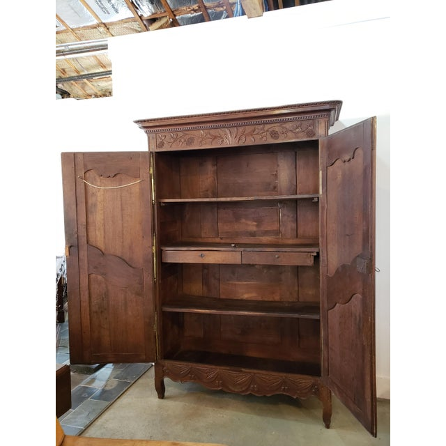 French Provencal Carved Walnut Armoire For Sale - Image 10 of 13