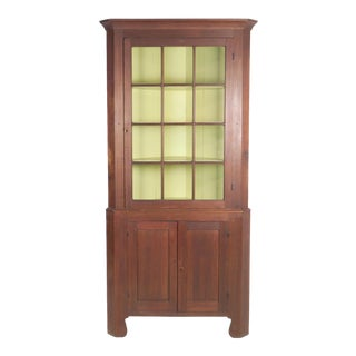1800s Antique 2 Piece Cherry Corner Cupboard For Sale