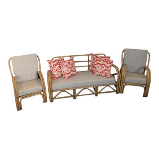 1940's Raw Bamboo Settee & Chairs - Set of 3 For Sale