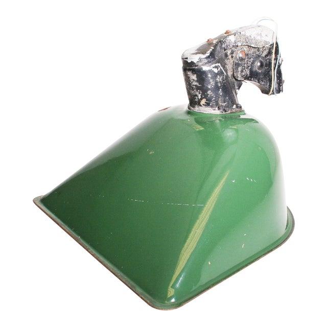 Vintage Industrial Large Green Enamel Light Fixture with Bracket - Image 1 of 11