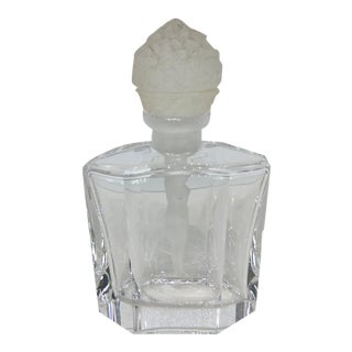 Art Deco Style Crystal Perfume Bottle with Figural Stopper