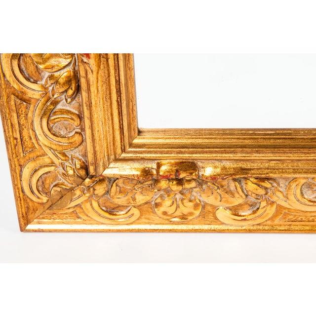 Italian Vintage Italian Gilded Wood Framed Hanging Bevelled Mirror For Sale - Image 3 of 10