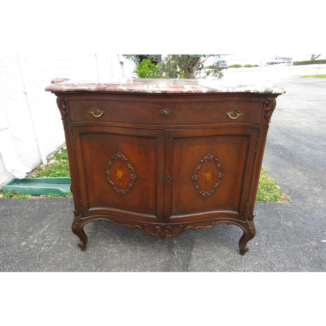 French Early 1900s Marble Top Commode Server Buffet Bathroom Vanity For Sale - Image 9 of 13