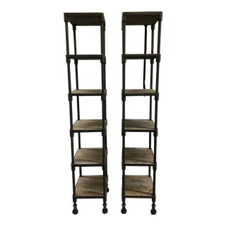 Dutch Industrial Narrow Single Shelving Units - A Pair For Sale
