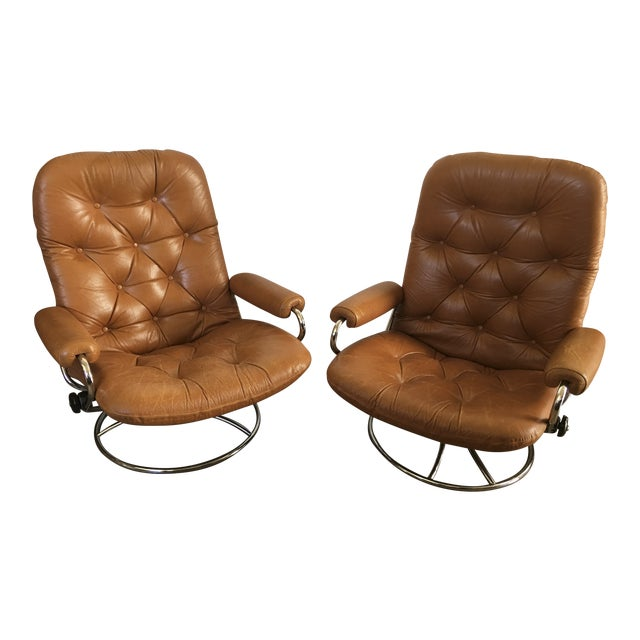 Vintage Mid-Century Modern Reclining Chair By Ekornes Stressless (A Pair) - Image 1 of 11