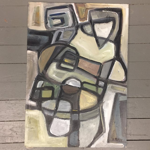 Stewart Ross Original Vintage Abstract Painting For Sale In Philadelphia - Image 6 of 6