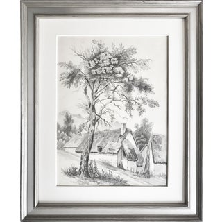 19th C French Cottage Landscape Drawing For Sale