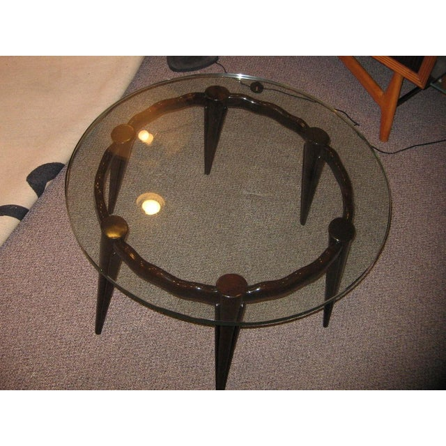 Fontana Arte Fontana Arte Round Cocktail Table in Mahogany and Glass Italy circa 1940 For Sale - Image 4 of 5
