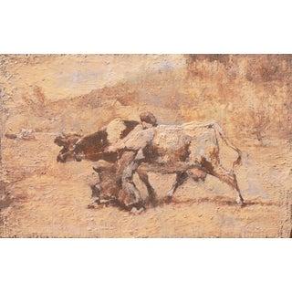 'Bretonne Cowherd in Pasture' by Julien Dupré, Circa 1880; Barbizon School, Proto-Impressionism, Louvre, Paris, Brittany For Sale