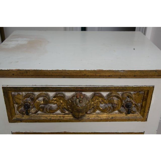 Pair of Italian White and Parcel-Gilt Chests For Sale - Image 10 of 11