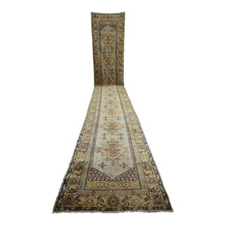 Hand-Knotted Oushak Runner Rug. Turkish Tribal Long Runner 3′ × 21′8″